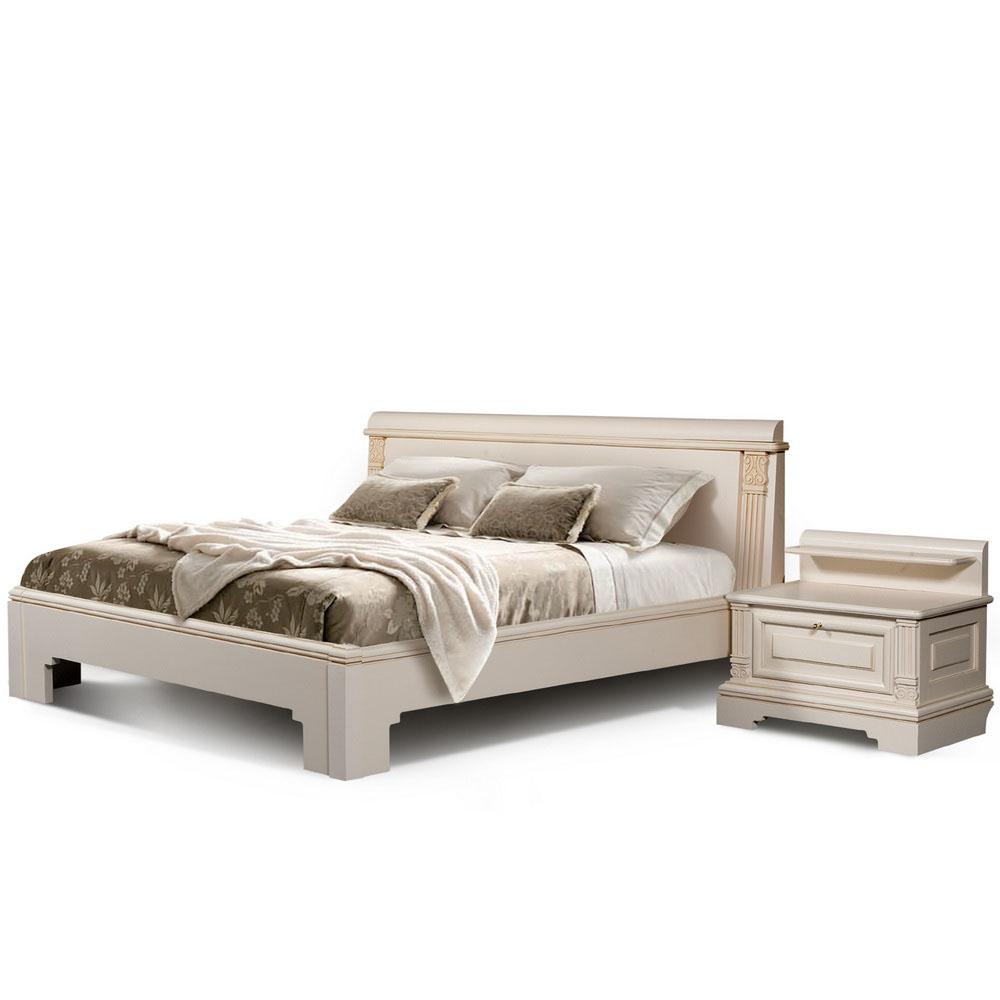 Кровать и прикроватная тумба коллекции «Престиж» - светлая
