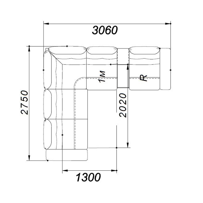 Диван угловой раскладной «Рич комфорт R» ГМФ 522; ГМФ 52
